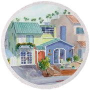 The Most Colorful Home In Belmont Shore Round Beach Towel