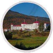 The Mount Washington Hotel In Autumn Round Beach Towel