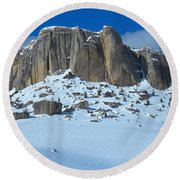 Round Beach Towel featuring the photograph The Mountain Citadel by Michele Myers