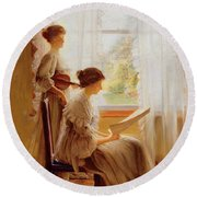The Music Lesson, C.1890 Round Beach Towel by American School