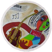 The Music Practitioner Round Beach Towel