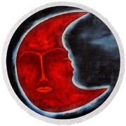 The Mysterious Moon - Original Oil Painting Round Beach Towel