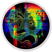 Round Beach Towel featuring the photograph The Neon Dragon by Kelly Awad