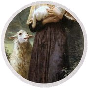The Newborn Lamb Round Beach Towel by William Bouguereau