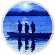 The Night Fishermen Round Beach Towel