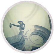Round Beach Towel featuring the photograph The Night Watchman by Trish Mistric