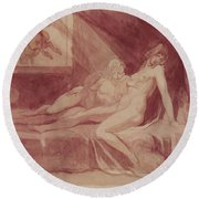 The Nightmare Leaving Two Sleeping Women, 1810 Graphite & Wc On Paper Round Beach Towel