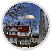 Round Beach Towel featuring the photograph The Northpoint Lighthouse by Deborah Klubertanz