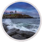 The Nubble In Color Round Beach Towel