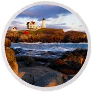 The Nubble Lighthouse Round Beach Towel