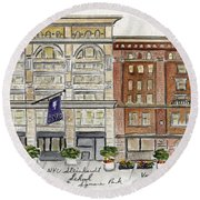 The Nyu Steinhardt Pless Building Round Beach Towel