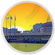 The Old And New Yankee Stadiums Side By Side At Sunset Round Beach Towel by Nishanth Gopinathan
