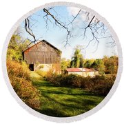 Round Beach Towel featuring the photograph The Old Barn by Trina  Ansel