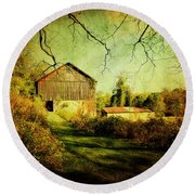 Round Beach Towel featuring the photograph The Old Barn With Texture by Trina  Ansel