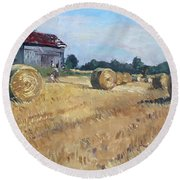 The Old Barns In Georgetown On Round Beach Towel