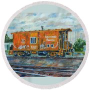The Old Caboose Round Beach Towel