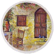 The Old Chair Round Beach Towel by Lou Ann Bagnall