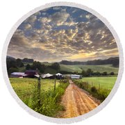 The Old Farm Lane Round Beach Towel