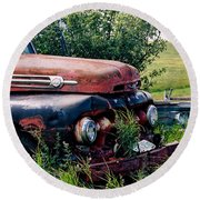 The Old Farm Truck Round Beach Towel