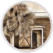 The Old Fort-sepia Round Beach Towel