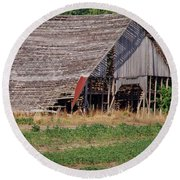 Round Beach Towel featuring the photograph The Old Gray Barn by Nick Kirby