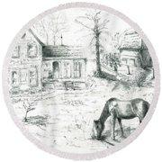 The Old Horse Farm Round Beach Towel by Bernadette Krupa