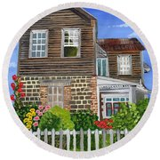 The Old House Round Beach Towel by Laura Forde