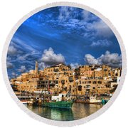 the old Jaffa port Round Beach Towel