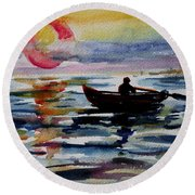 The Old Man And The Sea Round Beach Towel