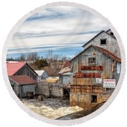 The Old Mill And The Raging River Round Beach Towel