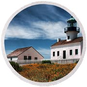 The Old Point Loma Lighthouse By Diana Sainz Round Beach Towel
