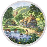 The Old Pond Round Beach Towel