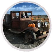 Round Beach Towel featuring the photograph The Old Pumpkin Patch by Michael Gordon