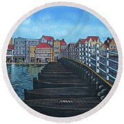 The Old Queen Emma Bridge In Curacao Round Beach Towel by Frank Hunter