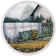 The Old Quilt Round Beach Towel