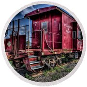 Old Red Caboose Round Beach Towel by Thom Zehrfeld