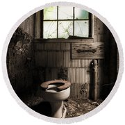 The Old Thinking Room - Abandoned Restroom And Toilet Round Beach Towel