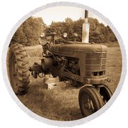 The Old Tractor Sepia Round Beach Towel