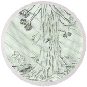 Round Beach Towel featuring the drawing The Old Tree In Spring Light  - Sketch by Felicia Tica