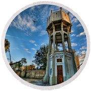 Round Beach Towel featuring the photograph The Old Water Tower Of Tel Aviv by Ron Shoshani