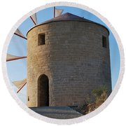 The Old Windmill 1830 Round Beach Towel by George Katechis