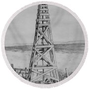 Lonely Windmill Round Beach Towel