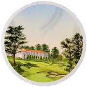 Round Beach Towel featuring the painting The Olympic Golf Club - 18th Hole by Bill Holkham