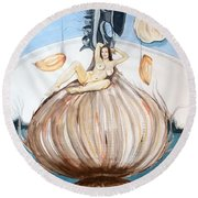 Round Beach Towel featuring the painting The Onion Maiden And Her Hair La Doncella Cebolla Y Su Cabello by Lazaro Hurtado