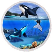 The Orca Family Round Beach Towel