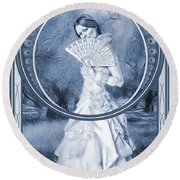 The Orchard Cyanotype Round Beach Towel
