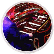 The Organ Player Round Beach Towel