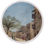 The Ouled Nail Quarter, Biskra, April 1889  Round Beach Towel