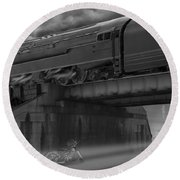 The Overpass 2 Panoramic Round Beach Towel