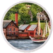 The Paint Factory And The Ardelle Round Beach Towel by Eileen Patten Oliver